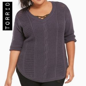 Torrid Grey Cable Knit V Neck Sweater